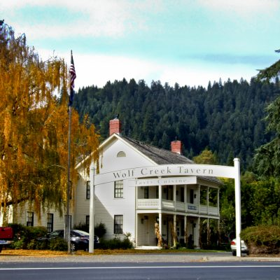 Historic Wolf Creek Inn (Tavern) is located about 25-miles North of Grants Pass, Oregon in Wolf Creek.