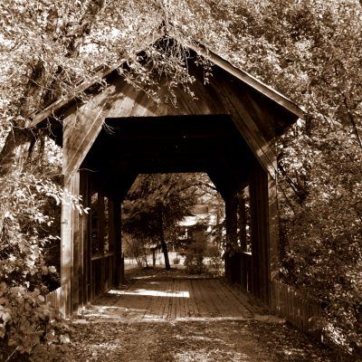 Wooden Covered Bridge in Wolf Creek, Oregon, about 25-miles North of Grants Pass.