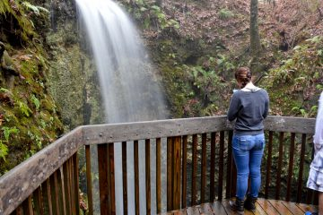 A girl looking at Falling Waters waterfall in Northern Florida