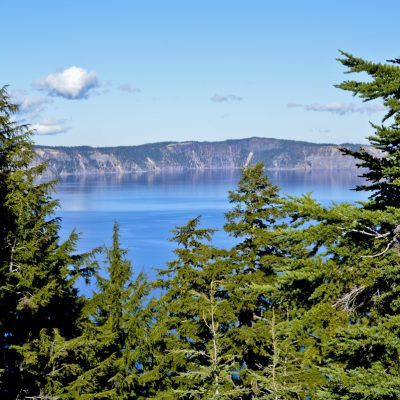 Crater Lake, OR is the deepest lake in the United States. This is a view of the lake from the rim and through or over Pine Trees.