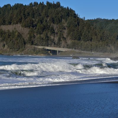 View of the Pacific Coast along Hwy 101 South of Crescent City, California near the Redwoods.